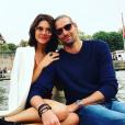 Camille Lacourt et Alice Detollenaere amoureux à Paris, le 24 avril 2019.