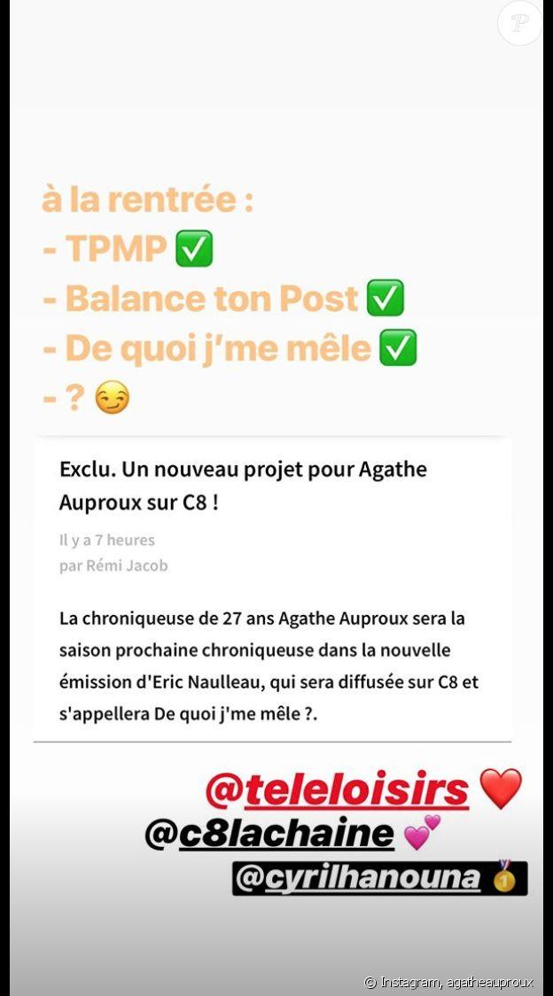 """Agathe Auproux annonce son arrivée dans """"De quoi j'me mêle"""", le nouveau talk-show de C8."""