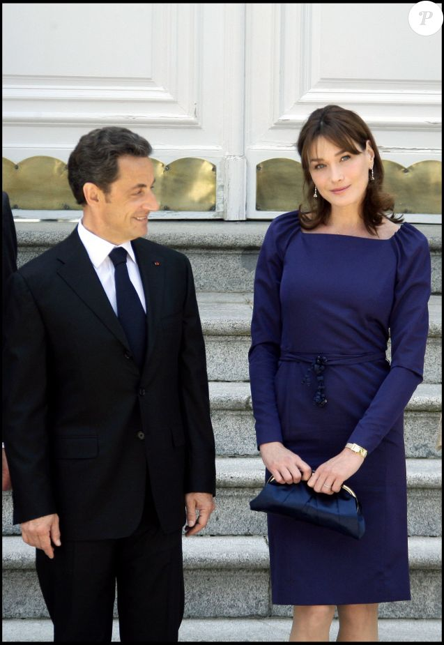 Nicolas Sarkozy et Carla Bruni à Madrid, avril 2009.