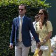 Pippa Middleton Matthews et son mari James Matthews arrivent à Wimbledon à Londres, le 12 juillet 2019.