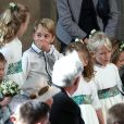 La princesse Charlotte de Cambridge, Savannah Philips, le prince George de Cambridge - Cérémonie de mariage de la princesse Eugenie d'York et Jack Brooksbank en la chapelle Saint-George au château de Windsor le 12 octobre 2018.