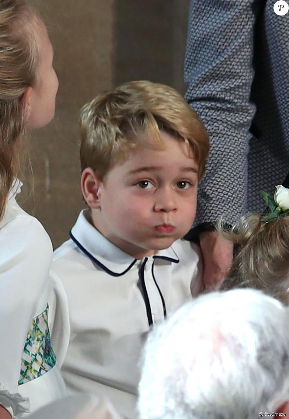 Le prince George de Cambridge - Cérémonie de mariage de la princesse Eugenie d'York et Jack Brooksbank en la chapelle Saint-George au château de Windsor le 12 octobre 2018.