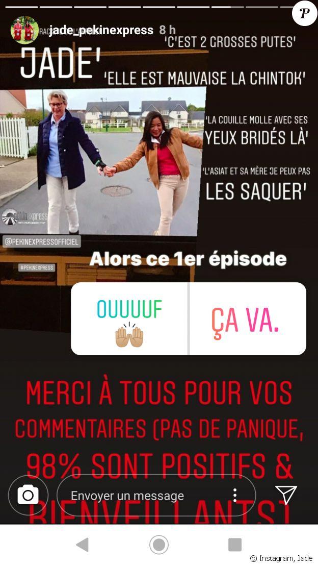 """Jade de """"Pékin Express 2019"""" dévoile les commentaires négatifs qu'elle a reçus lors de la diffusion du premier épisode, le 18 juillet"""