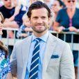 Le prince Carl Philip et la princesse Sofia de Suède à Borgholm sur l'île d'Öland le 14 juillet 2019 lors de l'anniversaire de la princesse héritière Victoria.
