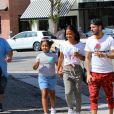 Matt Pokora, sa compagne Christina Milian enceinte et sa fille Violet Nash - Enceinte et radieuse, C.Milian se rend au glacier McConnell avec compagnon M.Pokora et sa fille V.Nash pour le goûter après avoir acheté des vêtements pour bébés. La chanteuse 'Dip it Low' et son compagnon ont annoncé sa grossesse la semaine dernière via Instagram. C'est le premier enfant du couple et le premier enfant de M.Pokora. Los Angeles, le 3 août 2019.