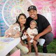 Chanel Iman, son mari Sterling Shepard et leur fille Caliclay. Août 2019.