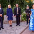 La princesse Victoria de Suède, vêtue d'une robe Maxjenny, lors de la cérémonie du Stockholm Junior Water Prize 2019 le 28 août 2019 à Stockholm.