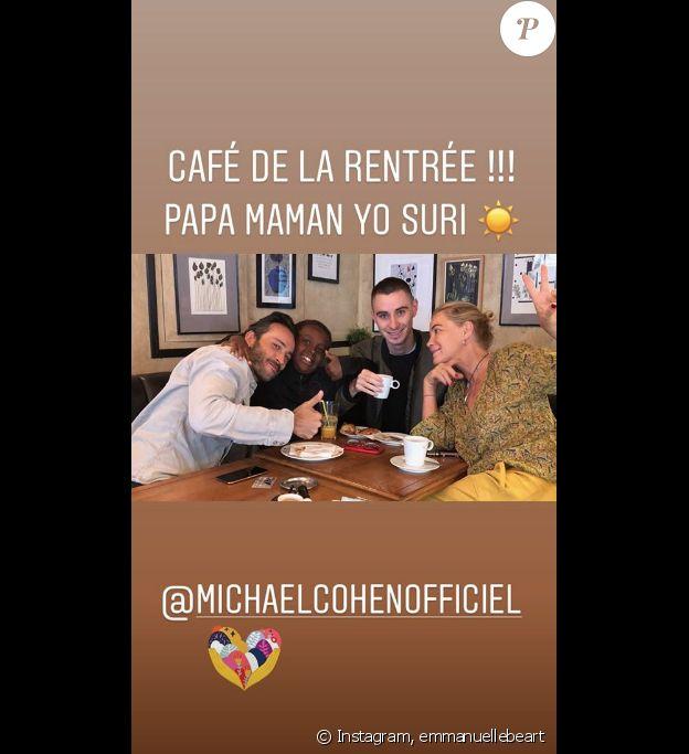 Emmanuelle Béart, son fils Surifel et son ex Michael Cohen.