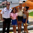 Laeticia Hallyday a survolé Saint-Barthélemy en hélicoptère avec ses filles Jade et Joy, le 31 août 2019.