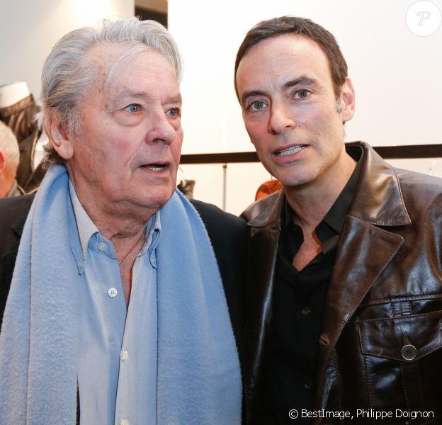 """Exclusif - Alain Delon et son fils Anthony Delon - Lancement de la marque de vêtements de cuir """"Anthony Delon 1985"""" chez Montaigne Market à Paris. Le 7 mars 2017 © Philippe Doignon / Bestimage"""