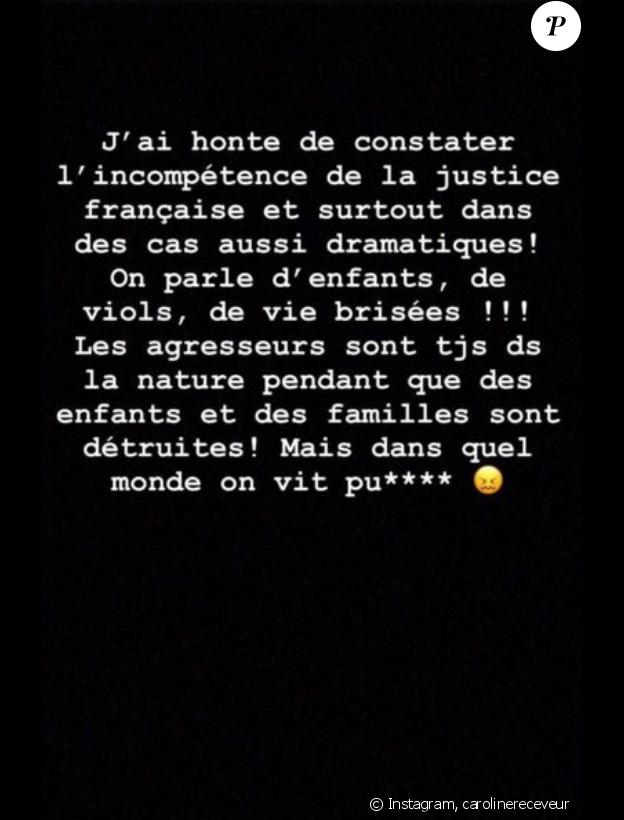 Caroline Receveur pousse un coup de gueule sur Instagram, le 7 septembre 2019