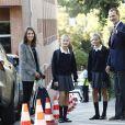 La princesse Leonor des Asturies et l'infante Sofia d'Espagne, accompagnées par leurs parents le roi Felipe VI et la reine Letizia, ont fait le 11 septembre 2019 leur rentrée des classes au collège Santa Maria de los Rosales à Madrid.