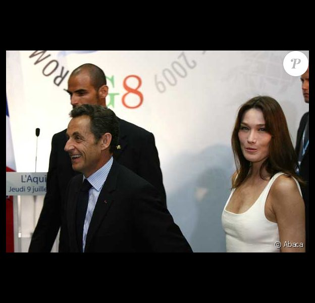 Carla Bruni et Nicolas Sarkozy à L'Aquila lors du G8. 09/07/09