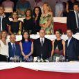 Virginie Coupérie-Eiffel, le prince Albert de Monaco, Charlotte Casiraghi, Gad Elmaleh, Thierry Rozier, l'entraîneur de Charlotte et la princesse Alexandra de Hanovre - Soirée de cloture du 20ème Jumping International de Monte-Carlo au Port Hercule de Monaco à Monte-Carlo, le 27 juin 2015.