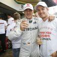 Michael Schumacher, Nico Rosberg - Grand Prix de Formule 1 a Sao Paulo au Bresil le 25 Novembre 2012.