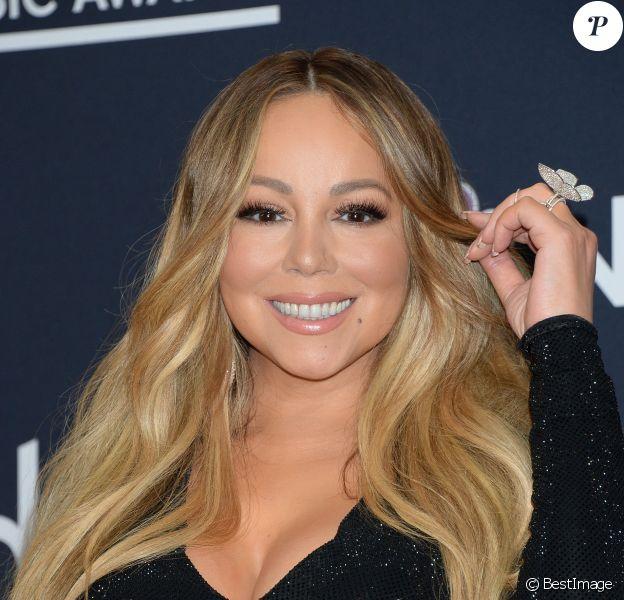 "Mariah Carey dans la press room des ""2019 Billboards Music Awards"" au MGM Grand Garden Arena à Las Vegas, le 1er mai 2019."