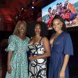 """Exclusif - Nadège Beausson-Diagne, Laura Flessel et Alicia Aylies (Miss France 2017) assistent à la soirée de gala de l'AMREF """"Les femmes au coeur de la santé en Afrique"""" au Pavillon Cambon Capucines à Paris, le 15 octobre 2019."""