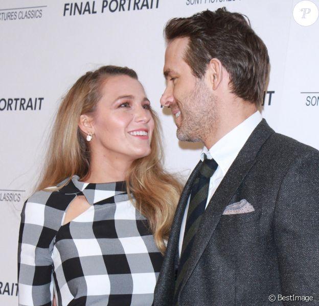 """Blake Lively et son mari Ryan Reynolds à la première de """"Final Portrait"""" au musée Solomon R. Guggenheim à New York, le 22 mars 2018."""