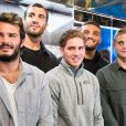 Exclusif - Arthur Bonneval, Yoann Maestri, Clément Daguin, Jules Plisson, Sylvain Nicolas - Les joueurs de rugby dédicacent le calendrier 2020 des Dieux du Stade aux Galeries Lafayette Champs-Élysées à Paris le 10 octobre 2019.