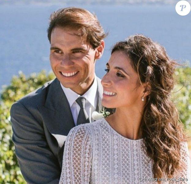 Rafael Nadal et son épouse Maria Francisca Perelló, le jour de leur mariage à Majorque, le 19 octobre 2019.
