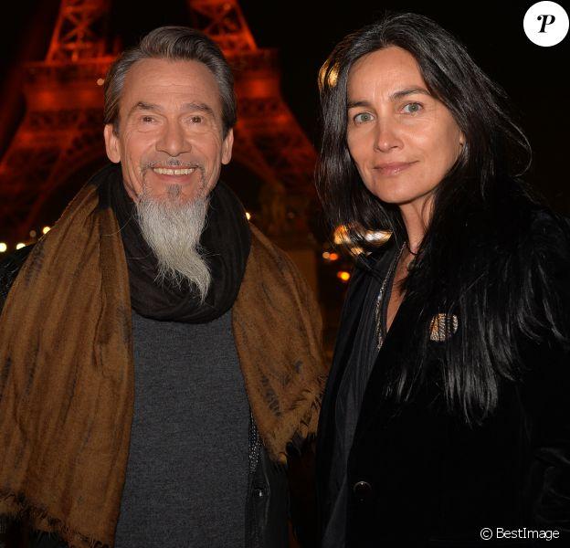 Exclusif - Florent Pagny et sa femme Azucena Caman - Backstage du concert anniversaire des 130 ans de la Tour Eiffel à Paris, qui sera diffusé le 26 octobre sur France 2. Le 2 octobre 2019. © Perusseau-Veeren/ Bestimage