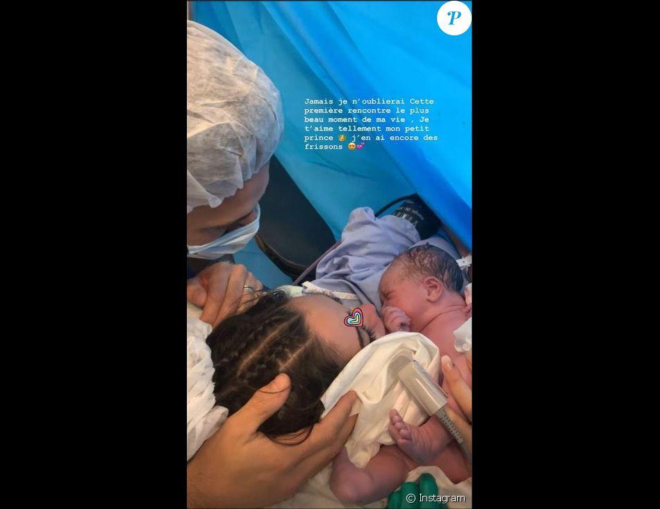 Nabilla partage une photo de son fils Milann après l'accouchement sur Instagram le 29 octobre 2019.
