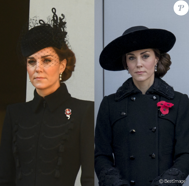 Kate Middleton avec les boucles d'oreilles en perles de la reine - Remembrance Sunday Service de Londres, en 2019 et en 2016.