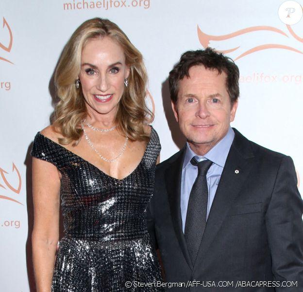 Tracy Pollan & Michael J. Fox au gala la fondation Michael J. Fox 'A Funny Thing Happened on the Way to Cure Parkinson's' à l'hôtel Hilton de New York le 16 novembre 2019. ©Steven Bergman/AFF-USA.COM /ABACAPRESS.COM