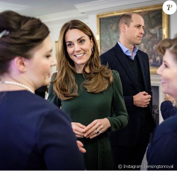Kate Middleton et le prince William lors de leur rencontre avec les nommés au Tusk Conservation Awards, au palais de Kensington, le 21 novembre 2019.