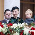 La princesse Alexandra de Hanovre, Beatrice Borromeo et son fils Franceso - La famille princière de Monaco dans la cour du palais lors de la fête Nationale monégasque à Monaco le 19 novembre 2019. © Olivier Huitel/Pool Monaco/Bestimage