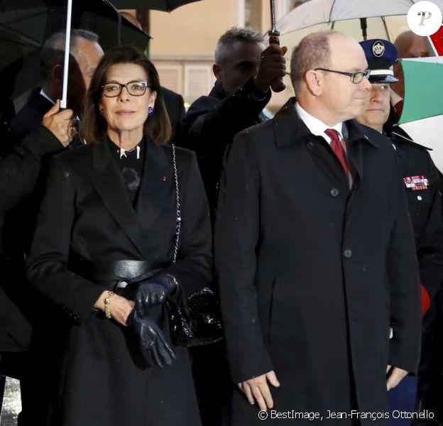 Exclusif - Le prince Albert II de Monaco, la princesse Caroline de Hanovre, Louis Ducruet - Cérémonie d'hommage à l'amitié Monaco - Etats-Unis à Monaco, le 18 novembre 2019. © Jean-François Ottonello / Nice Matin / Bestimage