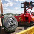 Le pilote brésilien Felipe Massa, victime d'un terrible accident lors des essais qualificatifs du Grand Prix de Hongrie, le 25 juillet 2009 !