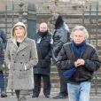 Emmanuelle Seigner et Roman Polanski avec leur fille Morgane lors des obsèques de Johnny Hallyday à Paris, le 9 décembre 2017. © Coadic Guirec/Bestimage