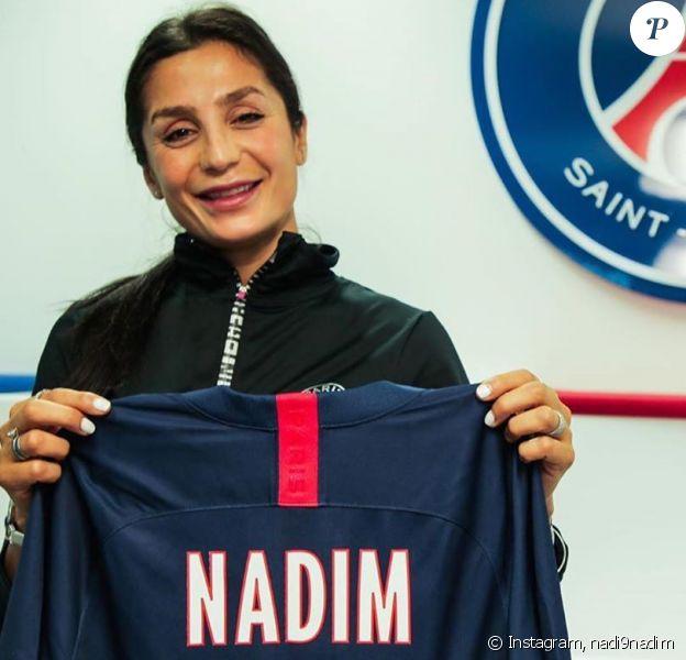 Nadia Nadim lorsqu'elle a annoncé prolongé son contrat avec le PSG le 9 juillet 2019.