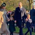 Le prince Charles, prince de Galles, Kate Middleton, duchesse de Cambridge, la princesse Charlotte, le prince William, duc de Cambridge et le prince George assistent à la messe de Noël en l'église Sainte-Marie-Madeleine à Sandringham au Royaume-Uni, le 25 décembre 2019.