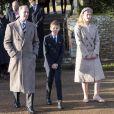 Le prince Edward, comte de Wessex, James Mountbatten-Windsor, Louise Mountbatten-Windsor (Lady Louise Windsor) lors de la messe de Noël en l'église Sainte-Marie-Madeleine à Sandringham au Royaume-Uni, le 25 décembre 2019.