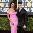 Priyanka Chopra et son mari Nick Jonas - Photocall de la 77e cérémonie annuelle des Golden Globe Awards au Beverly Hilton Hotel à Los Angeles. Le 5 janvier 2020.