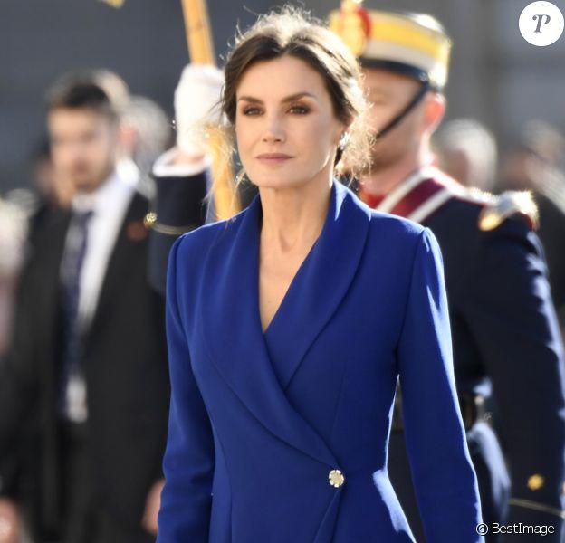 La reine Letizia d'Espagne lors de la traditionnelle pâque militaire, premier rendez-vous officiel de l'année civile, le 6 janvier 2020 au palais royal, à Madrid.