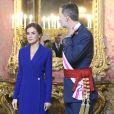 Le roi Felipe VI et la reine Letizia d'Espagne présidaient à la traditionnelle pâque militaire, premier rendez-vous officiel de l'année civile, le 6 janvier 2020 au palais royal, à Madrid.