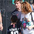 Exclusif - Shakira, Milan Piqué Mebarak - Shakira et son compagnon sont allés encourager leurs fils lors de leur entrainement de football à Miami, le 30 décembre 2019.