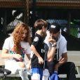Exclusif - Shakira, Gerard Pique, Milan Pique Mebarak - Shakira et son compagnon sont allés encourager leurs fils lors de leur entrainement de football à Miami, le 30 décembre 2019.