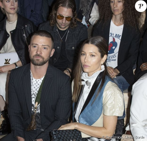 Justin Timberlake et sa femme Jessica Biel - Front Row du défilé de mode PAP femme printemps-été 2020 Louis Vuitton à Paris. Le 1er octobre 2019 © Olivier Borde / Bestimage