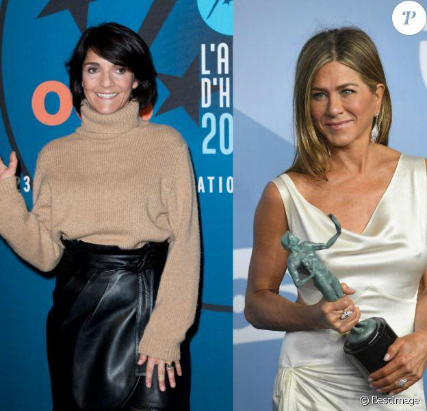 Florence Foresti salue les tétons de Jennifer Aniston aux SAG Awards.