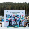 Martin Fourcade (FRA), Johannes Thingnes Boe (NOR), Fabien Claude (FRA), Philipp Nawrath (GER), Johannes Dale (NOR), Tarjei Boe (NOR) - Championnats du monde de biathlon 2020 (IBU World Cup Biathlon 2020) - 20km Hommes à Pokljuka le 23 janvier 2020. © Gepa / Panoramic / Bestimage
