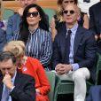 """Jeff Bezos et sa compagne Lauren Sanchez assistent à la finale homme du tournoi de Wimbledon """"Novak Djokovic - Roger Federer (7/6 - 1/6 - 7/6 - 4/6 - 13/12)"""" à Londres. Londres, le 14 juillet 2019. © Ray Tang/London News Pictures via Zuma Press/Bestimage"""