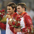 Roger Federer et Stanislas Wawrinka, lors de leur victoire en double, aux J.O. de Pékin, en août 2009 !