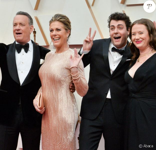 Rita Wilson, Truman Theodore Hanks, Elizabeth Hanks et Tom Hanks lors de la 92ème cérémonie des Oscars 2019 au Hollywood and Highland à Los Angeles, Californie, Etats-Unis, le 9 février 2020.