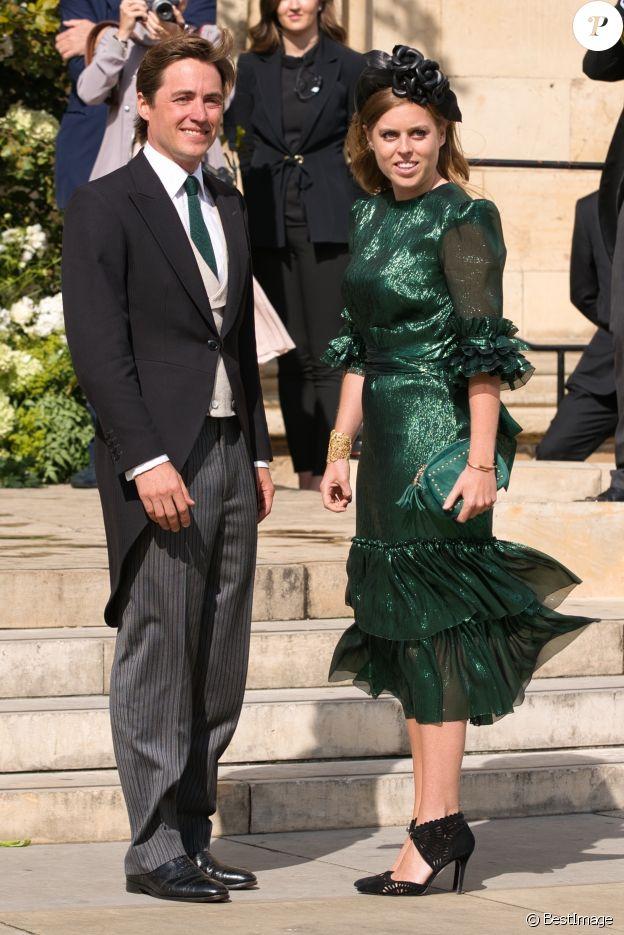 La princesse Beatrice d'York et son compagnon Edoardo Mapelli Mozzi - Les invités arrivent au mariage d'Ellie Goulding et C. Jopling en la cathédrale d'York, le 31 août 2019.