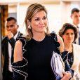 La reine Maxima des Pays-Bas lors d'une rencontre sur la finance inclusive à l'hôtel Kempinsky à Jakarta, à l'occasion d'un voyage officiel en Indonésie de 4 jours. Le 9 mars 2020.