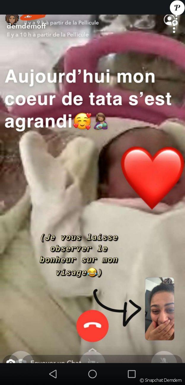 Demdem a reçu de nombreux messages de félicitations de ses proches suite à la naissance de son cinquième enfant. La femme de Gims en a republié certains sur Snapchat.